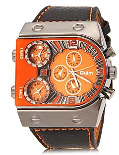 Oulm 男性 軍用腕時計 リストウォッチ 3タイムゾーン クォーツ PU バンド ブラック