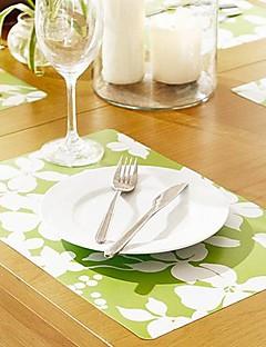 Fleurs blanches à motifs Tapis table pour le dîner, 4 pièces par Set, L42cm x 28cm W
