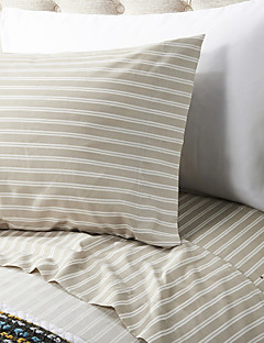 "Sheet Set ,4-Piece Microfiber Stripe Kaffe med 12 ""Pocket Dybde"