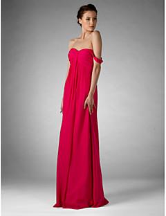 LAN TING BRIDE Floor-length Chiffon Bridesmaid Dress - Sheath / Column Off-the-shoulder / Sweetheart Plus Size / Petite