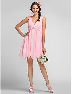 Vestito da damigella - Rosa chiaro Trapezio/Stile Principessa V Mini Chiffon Taglie grandi