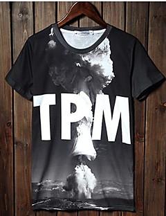 Fritid Tryk Mænds Kortærmet T-shirt Bomuld