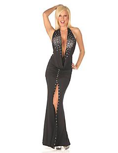 Shiny Galaxy Diepe V-hals Bodycon Vrouwen Avond Party Dress Sexy Uniform