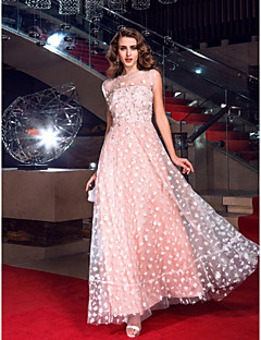 Homecoming Formal Evening/Prom/Military Ball Dress - Pearl Pink Plus Sizes A-line Jewel Floor-length Tulle