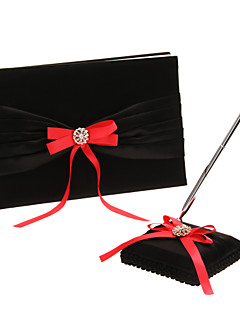 Guest Book / Pen Set Satin Classic ThemeWithBow / Rhinestones Guest Book / Pen Set