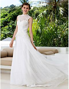 Lanting novia una línea petite / tallas grandes de la boda del tren del vestido de tenis de cuello alto de encaje / raso