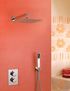 現代風 壁式 サーモスタットタイプ レインシャワー ハンドシャワーは含まれている with  セラミックバルブ 二つのハンドル三穴 for  クロム , シャワー水栓