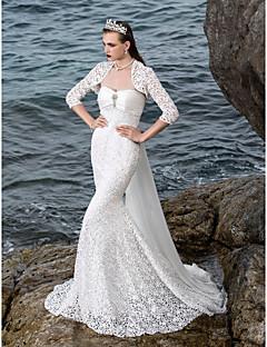 LAN TING BRIDE Mořská panna Svatební šaty - Elegantní & moderní Elegantní & luxusní Okouzlující & dramatické Svatební šaty s bolerkem