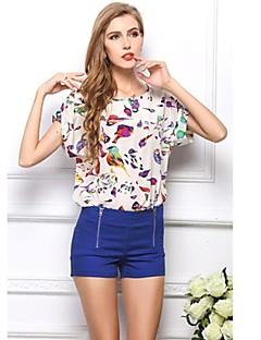 Mulheres Rodada Collar manga curta Imprimir Chiffon Camisetas