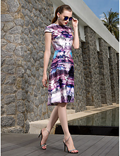 TS Couture® Cocktail Party / Prom / Holiday Dress - Floral / Elegant Plus Size / Petite A-line Jewel Knee-length Satin Chiffon