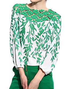 Polyester Grønn Tynn Langermet Bluse Blomstret Alle sesonger Enkel Fritid/hverdag Dame