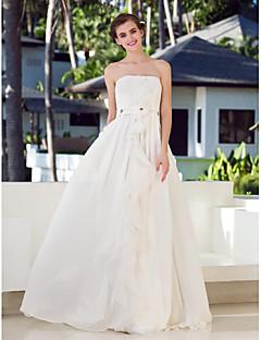 웨딩 드레스 - 아이보리(색상은 모니터에 따라 다를 수 있음) A 라인 바닥 길이 튜브탑 쉬폰/샤르뫼즈/스트래치 새틴 플러스 사이즈