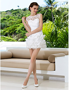 Lanting bruden skjede / kolonne petite / pluss størrelser brudekjole-kort / mini juvel blonder