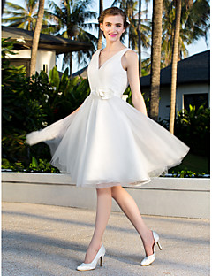 Lanting A-line/Princess Plus Sizes Wedding Dress - Ivory Knee-length V-neck Satin