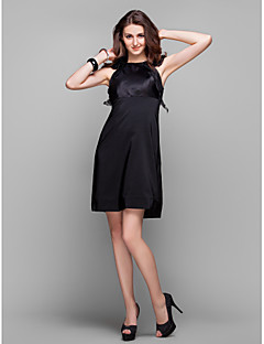 Homecoming Cocktail Party/Holiday/Prom Dress - Black Plus Sizes Sheath/Column Jewel Knee-length Organza/Stretch Satin