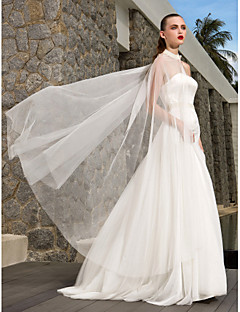 Lanting Bride A-line / Princess Petite / Plus Sizes Wedding Dress-Sweep/Brush Train Strapless Satin / Tulle