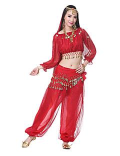 Dança do Ventre Roupa Mulheres Actuação Seda Enfeites Moedas Lantejoulas Manga Comprida Tiaras Véu Cinto Topo 95