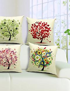 conjunto de 4 criativa árvore algodão / linho fronha decorativo