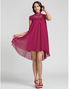 Homecoming Bridesmaid Dress Asymmetrical Chiffon Sheath Column High Neck Dress (710815)