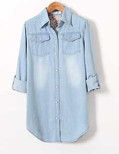 Women's Plus Size / Casual/Daily Simple All Seasons / Winter Shirt,Solid Shirt Collar Long Sleeve Blue Cotton Thin