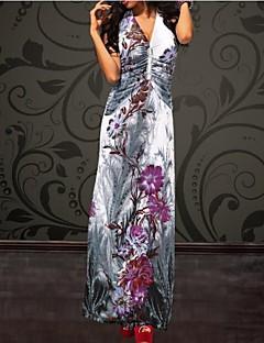 Women's Beach Sheath Dress,Floral Halter / Deep V Maxi Sleeveless Blue / Gray Summer
