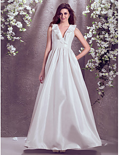 Lanting Bride A-line Petite / Plus Sizes Wedding Dress-Floor-length V-neck Taffeta