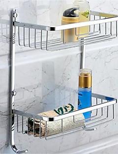 Hylle til badeværelset Krom Veggmontert 28*14*38cm(11*5.5*15inch) Rustfritt stål Moderne