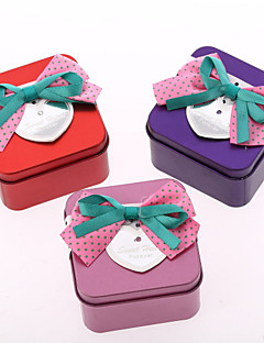 Square Iron Favor Tins With Double-Colored Bow - Set of 6 (More Colors)