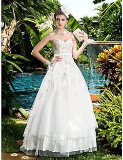 웨딩 드레스 - 아이보리(색상은 모니터에 따라 다를 수 있음) A 라인 바닥 길이 스윗하트 사틴