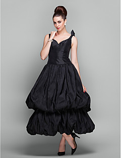 Homecoming Cocktail Party/Holiday/Prom Dress - Black Plus Sizes Ball Gown V-neck Ankle-length Taffeta