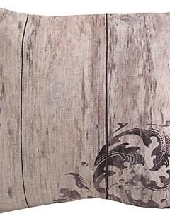 "Createforlife ® 18 ""x 18"" Square Ancient vintagestil Grey Blommor Bomull / Lin Dekorativa Kudde"