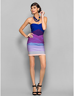Dress Sheath/Column Strapless Short/Mini Silk