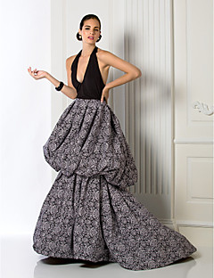 Formal Evening Dress Plus Sizes A-line Halter Court Train Chiffon/Jersey