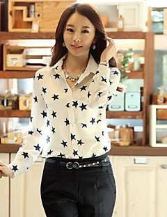 Women's Casual/Daily Simple Spring / Summer / Fall Shirt,Print Shirt Collar Long Sleeve White Medium