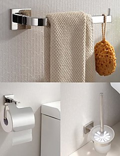 304 Stainless Steel 3 Piece Bathroom Accessories Set  Towel Ring and Toilet Brush Holder and Tissue Holder