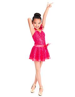 בגדי ריקוד לילדים שמלות בגדי ריקוד ילדים אימון ספנדקס / נצנצים / טול קפלים / נצנצים בלי שרוולים טבעי