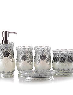5 db fürdő gyűjtemény készlet gyanta anyaga ezüst színű, fürdő együttes, fürdő tartozék készlet
