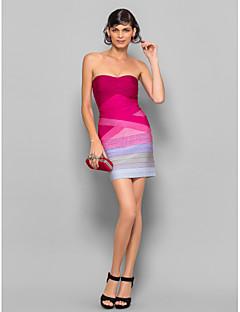 Kleid Seide - Etui-Linie - mini - trägerloser Ausschnitt