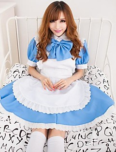 Hot Girl Sky Blue Terylene Dress Maid Uniform