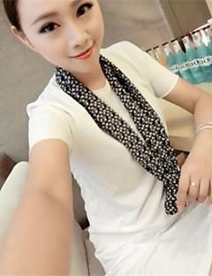 Mulheres Camiseta Verão,Sólido Branco / Marrom / Verde Outros Manga Curta Opaca / Fina