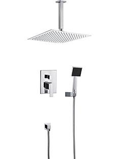 現代風 壁式 レインシャワー / ハンドシャワーは含まれている with  セラミックバルブ 二つのハンドル5つの穴 for  クロム , シャワー水栓