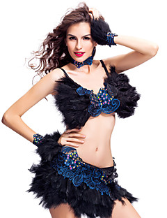 Performance Women's Feather And Rhinestone Samba Dance Outfit(More Colors)