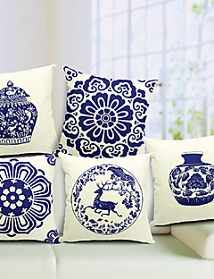 Set of 5 Chinese Porcelain Cotton/Linen Decorative Pillow Cover