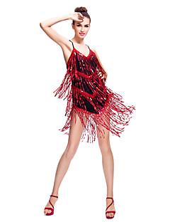 라틴 댄스 드레스 여성용 훈련 스판덱스 / 반짝이 반짝이 / 술 민소매 내츄럴