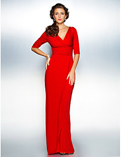 Sheath/Column Misses/Pear/Inverted Triangle/Hourglass/Apple/Petite/Plus Sizes Mother of the Bride Dress - Ruby Sweep/Brush TrainHalf