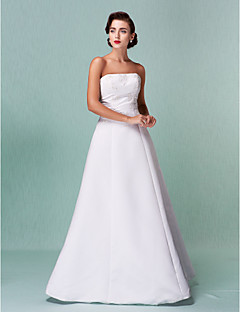 Lanting Bride A-line / Princess Petite / Plus Sizes Wedding Dress-Floor-length Strapless Satin