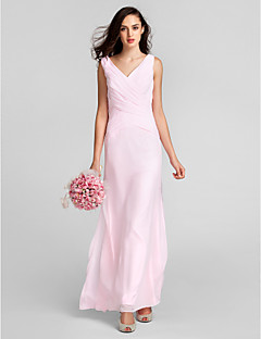 Lanting Floor-length Chiffon Bridesmaid Dress - Blushing Pink Plus Sizes / Petite Sheath/Column V-neck