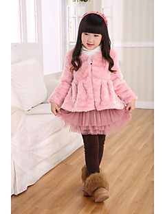 Thick Long Sleeve Collarless Faux Fur Kids Jacket