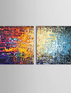 olieverfschilderijen set van 2 moderne abstracte kleur bakstenen met de hand beschilderd doek klaar om op te hangen