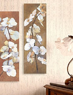 strakte lærred kunst oliemaleri stil blomst grene sæt med 2